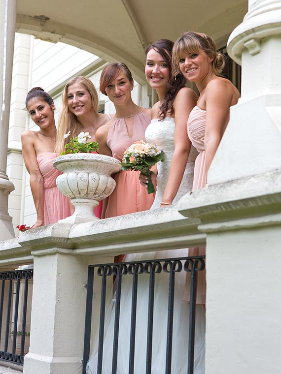 Bride and bridesmaids at the chateau